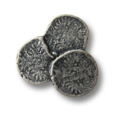 3 sehr große alt wirkende Metall Knöpfe w. verschmolzene Münzen (5541as-29x31mm)