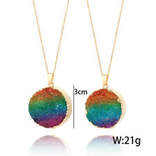 Hot Natural Druzy Quartz Agate Round Pendant Necklace Healing Beads Rainbow Gold Large