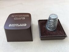 Vintage (1978) Scottish Celtic Design Pewter Thimble By Pewtermill Crafts, Boxed