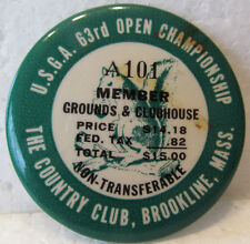 1963 U.S. OPEN MEMBER ENTRANCE BADGE-THE COUNTRY CLUB-JULIUS BOROS WIN