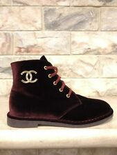 NIB Chanel 17B Burgundy Red Velvet CC Gold Logo Lace Up Ankle Combat Boots 42