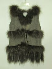 VINTAGE ALBERTO MAKALI RACOON FUR AND PIG LEATHER VEST
