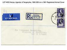 025: Kenya, Uganda, & Tanganyika, 1960 QEII on a 1961 Registered Airmail Cover