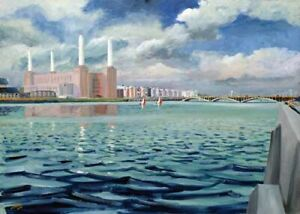 Battersea Power Station from North Embankment Artist Doug Myers A5 PRINT 1195