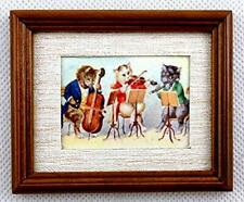 Melody Jane Dolls House Cat Orchestra Picture Painting in Walnut Frame Miniature