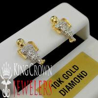 Mens 10K Real Yellow Gold Genuine Diamond Mini Angel Praying Hands Stud Earring
