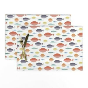 Cloth Placemats School Of Fish Mod Nautical Stylized Abstract Ovals Set of 2