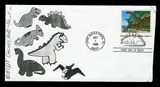 Dinosaur Brontosaurus Handmade Fdc + Pictorial cancel by Tucker 10 or less made