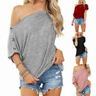 Women's Summer Solid Loose Tops One Shoulder Button Short-sleeve Casual T-shirt