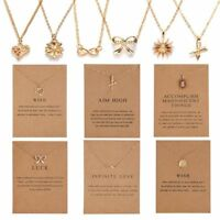 Women Love Heart Necklace Pendant Gold Clavicle Chains Choker Card Jewelry Party