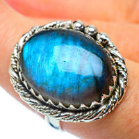 Large Labradorite 925 Sterling Silver Ring Size 7.75 Ana Co Jewelry R37237F