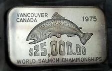 WESTERN MINT Johnson Matthey SALMON CHAMPIONSHIPS 1 OZ .999 SILVER ART BAR RARE