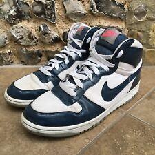 NIKE altos hasta el Tobillo Zapatillas para hombre Talla Reino Unido 11 Blanco Azul Zapatillas De Baloncesto