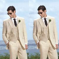 Two Buttons Men's Tuxedo Wedding Groom Best Man Linen Groomsmen 3 Pieces Suits