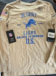 Nike Detroit Lions Salute to Service U.S. Performance L/S Youth M. 10/12. NWT.