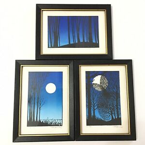 Rip Bodman 3pc Set Hand Printed Art Serigraph Moon Trees Landscape Signed Dated