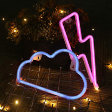Gmy Pink Neon Light Sign Lightning Bolt And Blue Cloud Led Neon Signs For Wall D