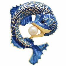 Blue Fish Brooches Pins Simulated-pearl Brooch Party Accessories Brosche Co J9T9