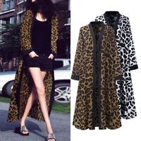 Vintage Femme Cardigans Manche Longue Casuel en vrac Imprimé Leopard Manteau