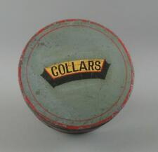 More details for antique 19th c. round tin toleware hinged collar box - vintage collars