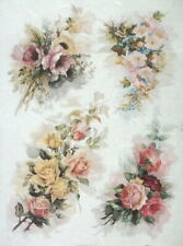 Rice Paper for Decoupage - Vintage Painted Rose Bouquets