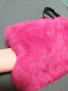New cosplay/evening little purse/ hand warmer / muff pink genuine rabbit