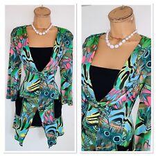 JOSEPH RIBKOFF Colourful Peacocks Pattern Jersey Tunic Top Uk Size 14