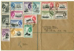 FALKLAND ISLANDS DEPS 1954 SHIPS TO £1 G26/40 ON REG FIRST DAY COVER