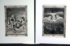 Christmas Night 1870 LITTLE GIRLS DREAMING of TOYS DOLLS Pair of Matted Prints