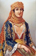 ISRAËL : FEMME en COSTUME TRADITIONNEL à NAZARETH - Gravure en couleur du 19e s.