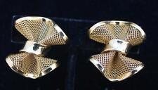Vintage Signed GIVENCHY Goldtone Mesh BOW Shape Clip-On Earring