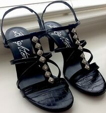 Brighton Reward Strappy High Heel Sandals Black New Rhinestones Crystals New 7.5
