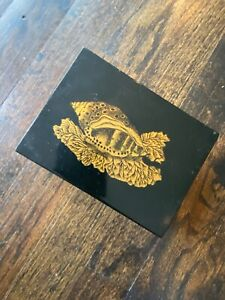 1950s Early Piero Fornasetti Italy Wood metal Box Shell Conchigli gold black