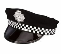 Policeman Fancy Dress Cap Hat Police Cop Costume Accessory Adults Outfit