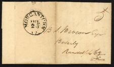 1850 US Stampless folded letter w/Morgantown VA pmk to Beverly, Randolph Co, VA