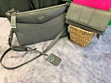 NEW! GUESS G LOGO BIRCH PURSE BLACK HANDBAG CROSSBODY & Ware Wallet SLG 2 PC SET