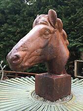 Tête de cheval en fonte rouillée et vernis sur socle