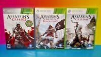 Assassin's Creed II + III + IV 2 3 4 - XBOX 360 Game Bundle Rare Lot Revelations