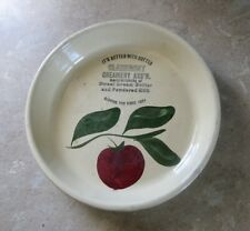 VINTAGE OR ANTIQUE WATTS POTTERY APPLE PATTERN ADVERTISING CLAREMONT MN CREAMERY