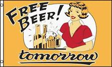FREE BEER TOMORROW  3 X 5 FLAG drinking  novelty FL515 party suppiles advertize