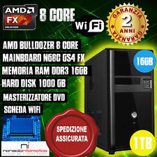 PC DESKTOP COMPUTER FISSO AMD 8 CORE 4.0GHZ MEMORIA RAM 16GB/HD 1TB/WIFI COMPLET