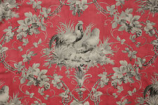 Antique French ROOSTER fabric linen cotton blend red + grey gray c1870 chicken