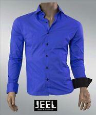 jeel Contraste Camisa Azul Azul Real Azul Rey Entallado SLIM-FIT Informal