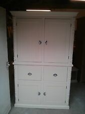 PINE FURNITURE VICTORIAN FARMHOUSE LARDER CUPBOARD CREAM/METAL HANDLES