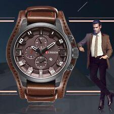 Curren Montre Militaire Sport Homme Quartz Date Neuve Large Bracelet Cuir Quartz