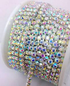 1MTR SS6 - SS16 Clear AB Rhinestone Chain Trims Silver Diamante Crystal Browband