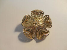 filigree flower brooch Germany Gold plate over sterling silver