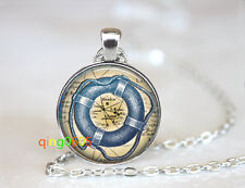 Nautical Life Preserver Ring glass Tibet silver Chain Pendant Necklace wholesale