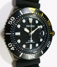 Seiko Prospex Solar Diver's 200M Mens Watch - DARK ION COATING / YELLOW - NEW