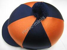 HY BLU SCURO/ARANCIONE Pom Pom Equitazione Cappello seta Copertura per casco da fantino TAPPI Taglia Unica